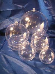 5 clear plastic fillable ornaments 1 each 5 sizes