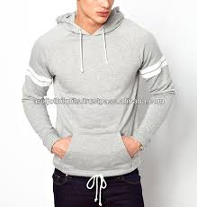 mens latest design pullover hoodie with banded stripes on sleeves