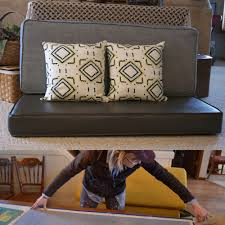 Diy Sofa Slipcover No Sew by How To Reupholster Your Travel Trailer Cushions In Just Five