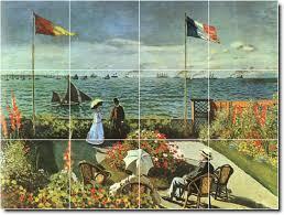 Kitchen Tile Murals Tile Art Backsplashes Monet Waterfront Backsplash Mural Tile Decorating Interior Idea