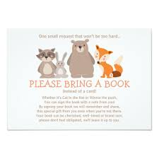 baby shower bring a book instead of a card woodland baby shower invitations announcements zazzle