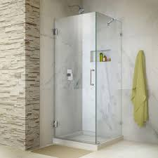 hinged glass shower door dreamline unidoor lux 30 in x 72 in frameless corner hinged