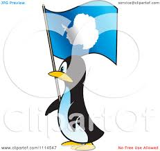 Antarctic Flag Clipart Penguin In Profile With An Antarctica Flag Royalty Free