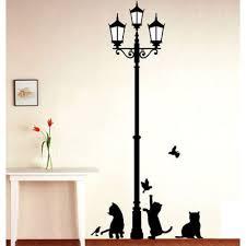 street lamp cat bird wall sticker wallstickerscool com au wall street lamp cat bird wall sticker