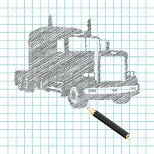 hand drown truck sketch vector illustration royalty free cliparts