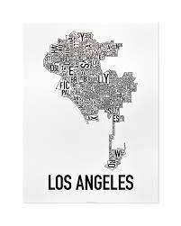 los angeles suburbs map los angeles neighborhood map 18 x 24 black white poster