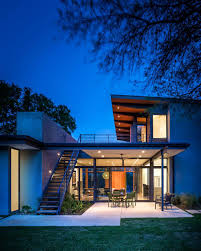 modern architecture and spacious roof deck barton hills
