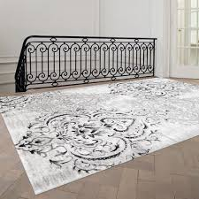 Area Rugs White Fleur De Lis Living Abbate Venetian Grey White Area Rug Reviews