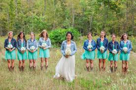 bride u0026 bridesmaids in jean jacket at wedding canadian wedding
