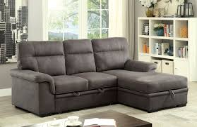 plush sectional sofas blaire graphite fabric plush sectional w pull out bed u0026 storage
