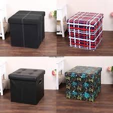 cube pvc leather folding ottoman pouffe seat foot stool storage