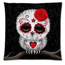 sugar skull cushion cover sugar skull owl roses black we