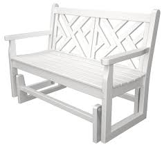 White Rocking Chair Outdoor by Amazon Com Polywood Cdg48wh Chippendale Glider White Patio