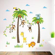 stickers animaux chambre bébé forêt animaux girafe singe palmier stickers muraux pour