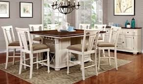 white counter height kitchen table and chairs table set counter height transitional style 9pcs white and cherry