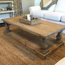 Living Room Decor Etsy Rustic Baluster Wide Plank Coffee Table
