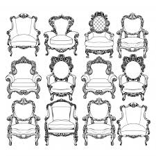 ornamental chairs collection vector premium