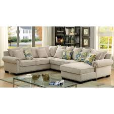 Upholstered Sectional Sofas Furniture Of America Casana Transitional Ivory Upholstered