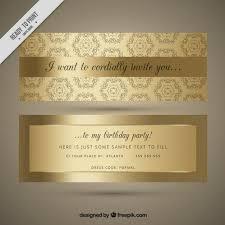 ornamental golden birthday invitation vector free download