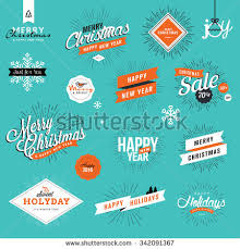set vintage new years stickers stock vector 342091367