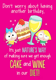 cake and wine diet birthday card funky pigeon