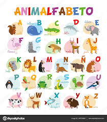 cute cartoon zoo illustrated alphabet with funny animals spanish