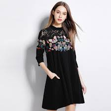 plus size loose middle aged women dress elegant lace butterfly