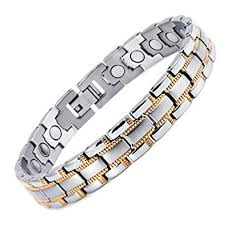 magnetic bracelet gold plated images Rainso mens womens titanium magnetic bracelet with silver gold jpg