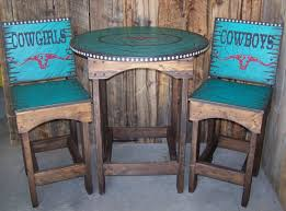 Rustic Patio Furniture Texas by Rustic Western Round Kitchen Or Dinning Pub Table With Bar Stools