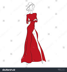 vector fashion sketch beautiful model standing stock vector