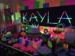 glow party created this dessert candy buffet and decor for my
