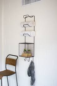 kalalou towel rack with wire basket shelf towels and products