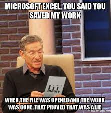 What Is A Meme Exle - microsoft excel you said you saved my work when the file was opened