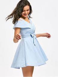 Cold Shoulder Self Tie Bowknot Mini Dress Light Blue Mini Dresses M