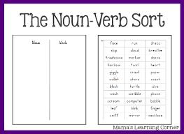 parts of speech the noun verb sort nouns and verbs parts of