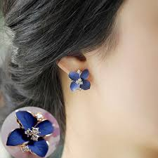 earrings for 2017 new blue flower gold plated rhinestone