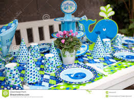 baby boy birthday themes baby boy birthday party outdoor table set stock photo