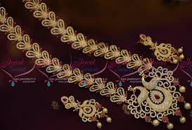 long necklace designs images Nl7690 peacock design broad long necklace haram ruby white fashion JPG