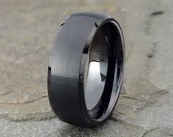 men in black wedding band wedding bands etsy