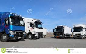 volvo truck range new renault range t and d trucks on display editorial stock photo