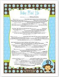 monkey boy baby shower mad lib blue monkey boy baby shower instant
