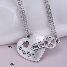 necklace with heart lock images Vintage unique best friend puzzle necklace silver heart lock and jpg