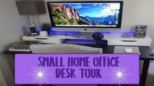 Imac Desk by Small Home Office Desk Tour Imac 27 Inch 5k Retina Youtube