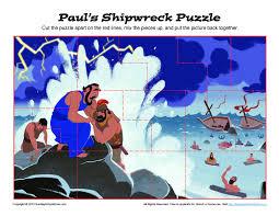 paul u0027s shipwreck puzzle printable bible activities for children