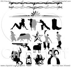 clipart of black silhouetted western cowboys cowgirls borders and