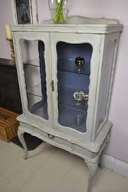 Display Cabinet Vintage Vintage Shabby Chic Glass Fronted Display Cabinet Cupboard Storage