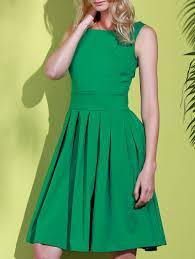 sleeveless scoop collar solid color women u0027s midi dress green xl