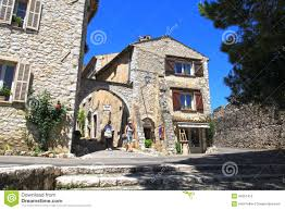 village with old beautiful houses in provence france stock