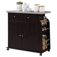 kitchen cabinet storage target hodedah kitchen island cabinet drawer storage with large spice and towel rack with wheels chocolate