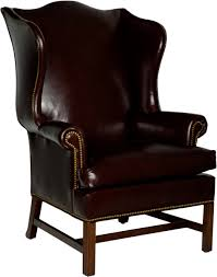 sensational leather winged back chair with additional modern